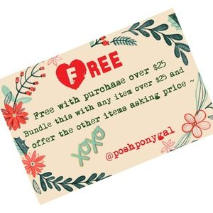 Free items with purchase $25 or more